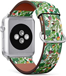 Compatible with Apple Watch 42mm & 44mm (Series 5, 4, 3, 2, 1) Leather Watch Wrist Band Strap Bracelet with Stainless Steel Clasp and Adapters (White Cactus)
