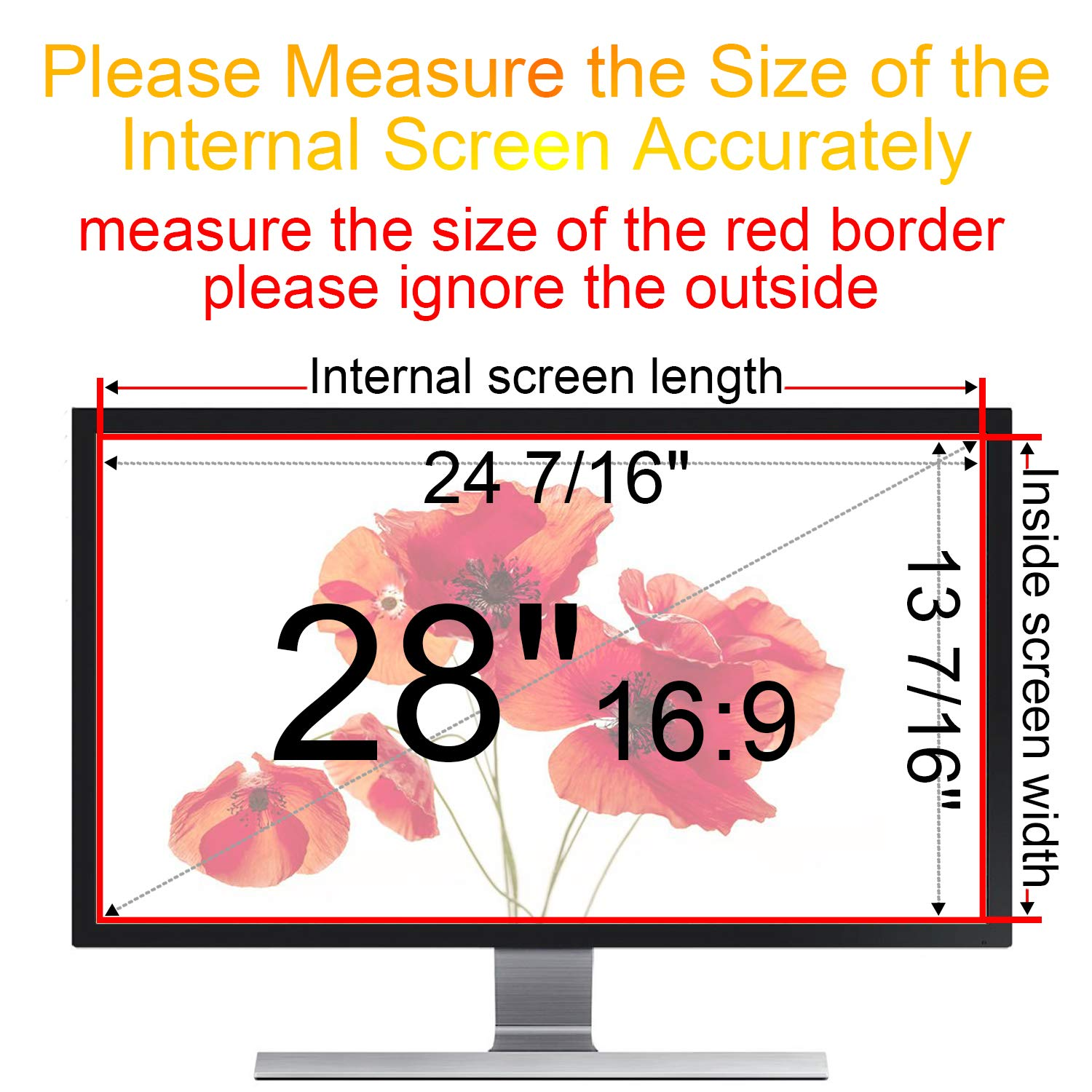 Xianan Privacy Screen Protector for 28 inch 16:9 Monitor, Privacy Filter for (24 7/16'' x13 7/16'') Widescreen PC Computer, Monitor Privacy Screen Film 28 inch Display Filter by Xianan (Image #4)