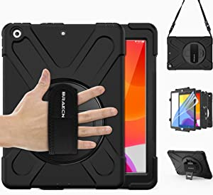 BRAECN iPad 8th/7th Generation Case, iPad 10.2 2020/2019 Case with Built in Anti-Scratch Screen Protector, Hand Strap, Swiveling Stand, Carrying Strap, Heavy Duty Rugged Case for iPad 10.2 Inch -Black