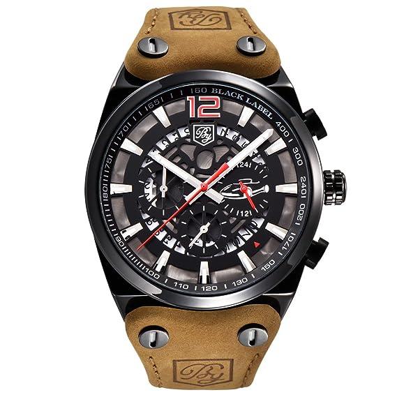 BENYAR Relojes Clásicos Moda Impermeable Cronógrafo Deporte Correa de Cuero Reloj de Pulsera para Hombre
