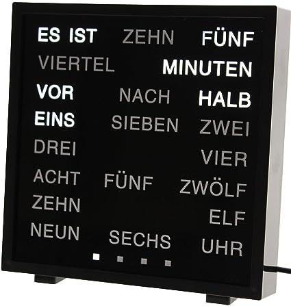 the best attitude d9f42 aea8f United Entertainment - LED Wort Uhr / Wörter Uhr / Uhr in Worten / Word  Clock Deutsch - Schwarz
