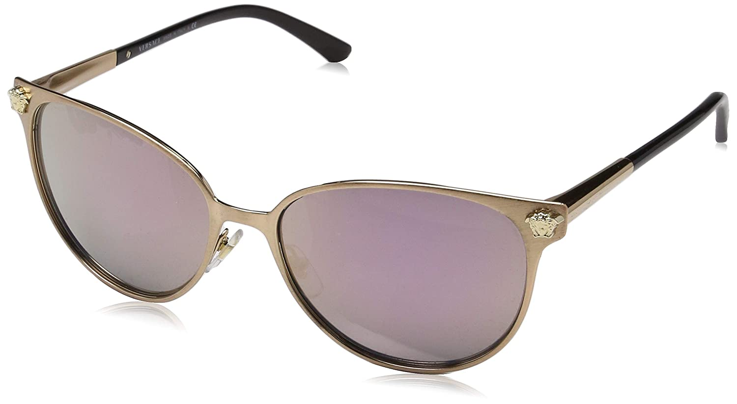 9f8d574f84 Amazon.com  Versace Womens Sunglasses (VE2168) Black Grey Metal - Polarized  - 57mm  Clothing