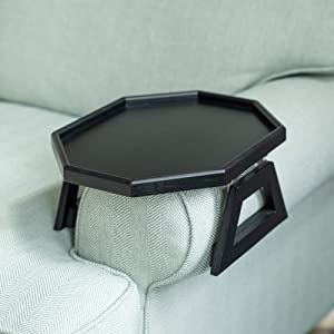 Signature Home Clip On Tray Sofa Table for Wide Couches! Couch Arm Tray Table, Portable Table, TV Table and Side Tables for Small Spaces. Stable Sofa Arm Table for Eating and Drink Table (Black)