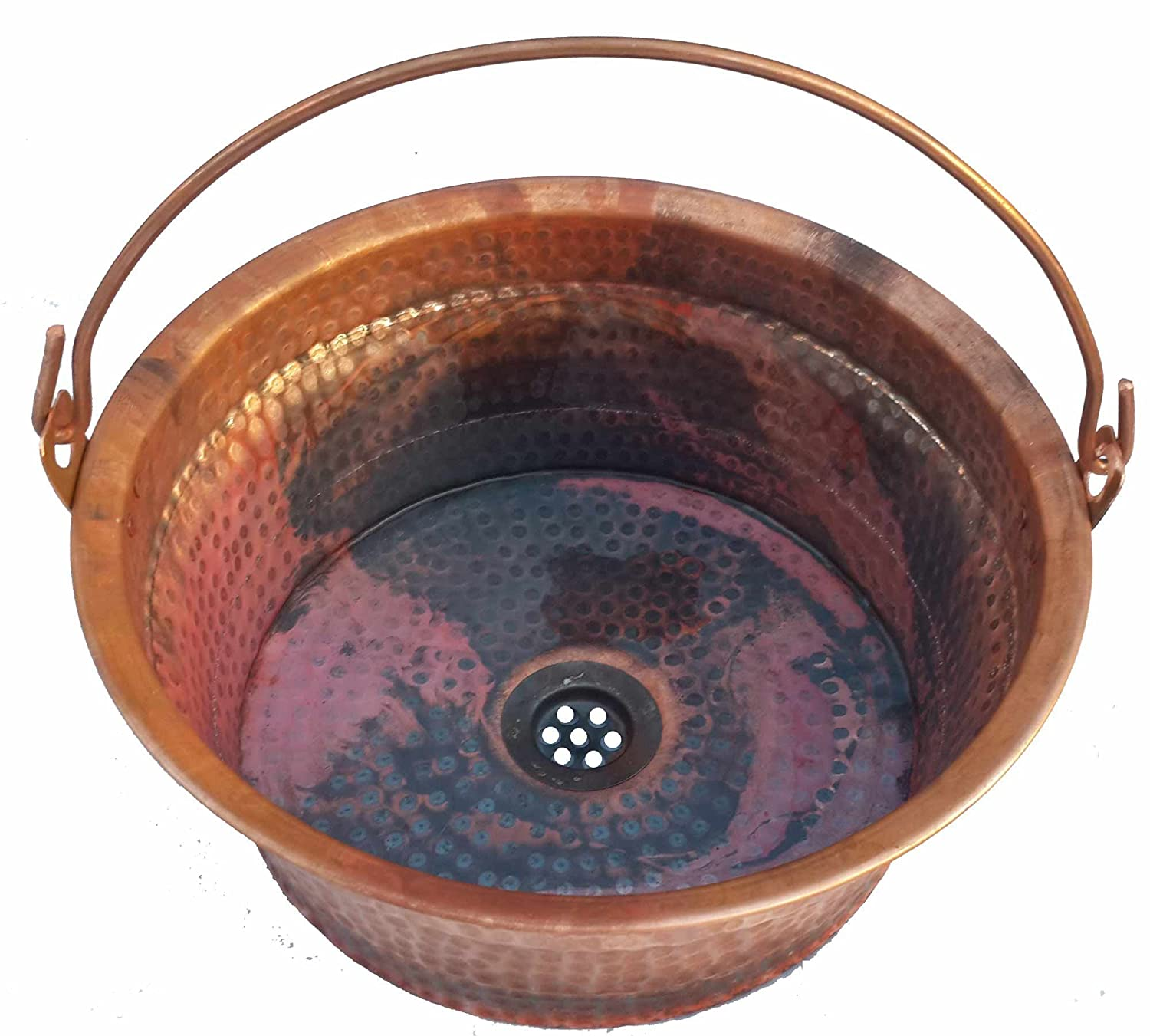 Egypt gift shops Rustic Natural Fire Treated Copper Vessel Bucket Vessel Top Mount Bath Room Sink Improvement Decor Updating