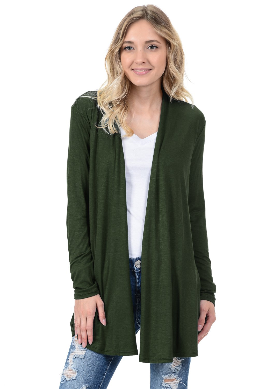 Pastel by Vivienne Women's Long Sleeve Jersey Cardigan X-Large Olive