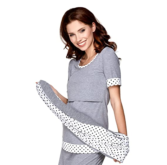 1ab20d4280d2d2 Be Mama! 3-in-1 Nursing Maternity Shirt and Scarf Set Temi Long or Short  Sleeve – Choice Of Colours  Amazon.co.uk  Clothing