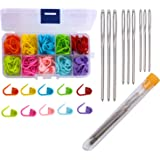 Maosifang 120 Locking Stitch Markers Knitting Counter and 9 Large-Eye Blunt Quilting Yarn Sewing Tapestry Darning Crafting We