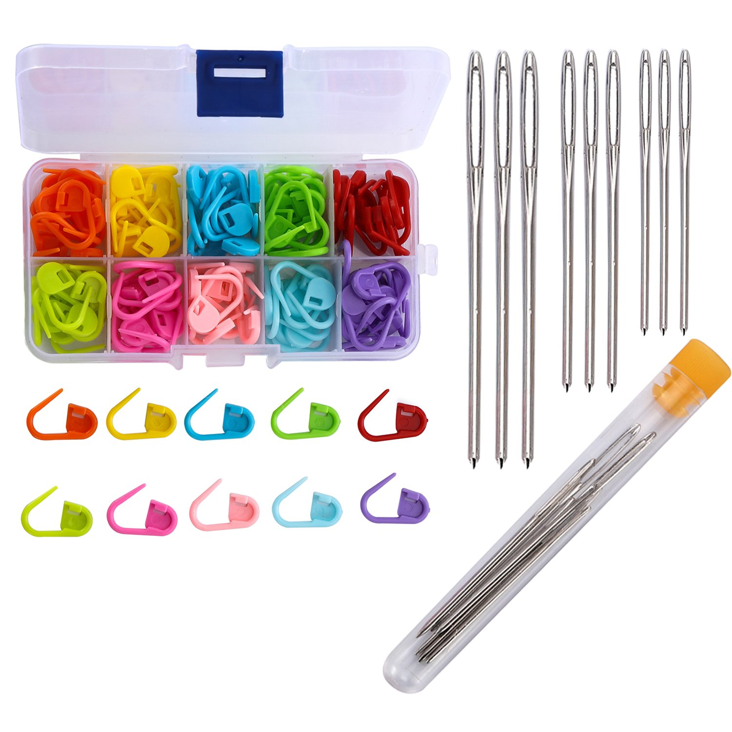 Maosifang 120 Locking Stitch Markers Knitting Counter and 9 Large-Eye Blunt Quilting Yarn Sewing Tapestry Darning Crafting Weaving Stringing Needles, 3 sizes Needles and Counter