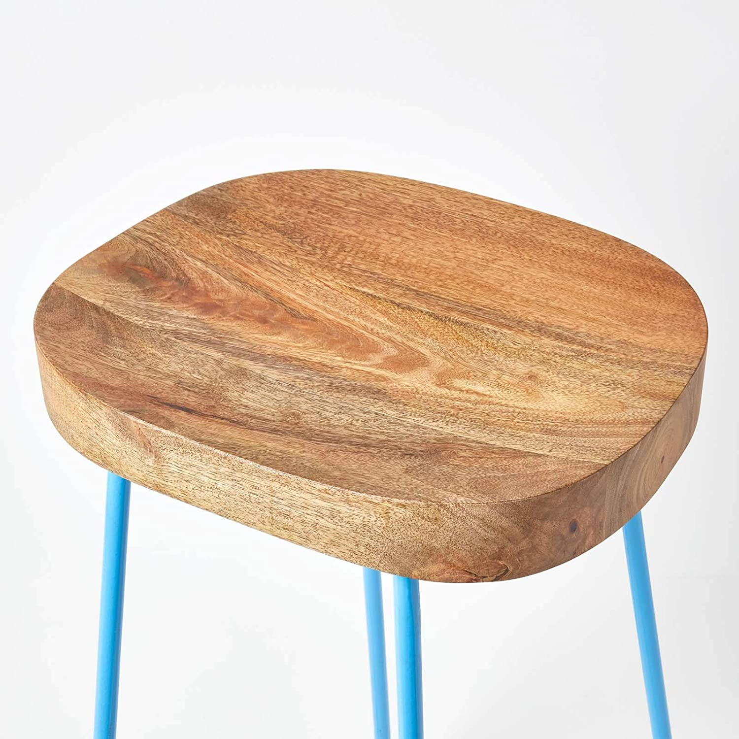 HOMESCAPES Ernest Barstool, Handcrafted with 100% Heavyweight Solid Mango Wood Seat and Metal Legs, Blue, 76cm High Blue