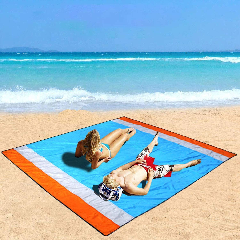 Mumu Sugar Sand Free Beach Mat Oversized 118 X106 Sand Proof Beach Blanket Outdoor Picnic Mat for Travel Camping Hiking and Music Festivals-Lightweight Quick Drying Heat Resistant
