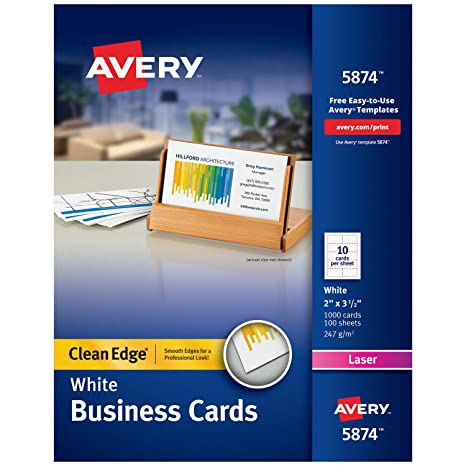 Amazon avery printable business cards laser printers 1 000 avery printable business cards laser printers 1000 cards 2 x 35 clean colourmoves