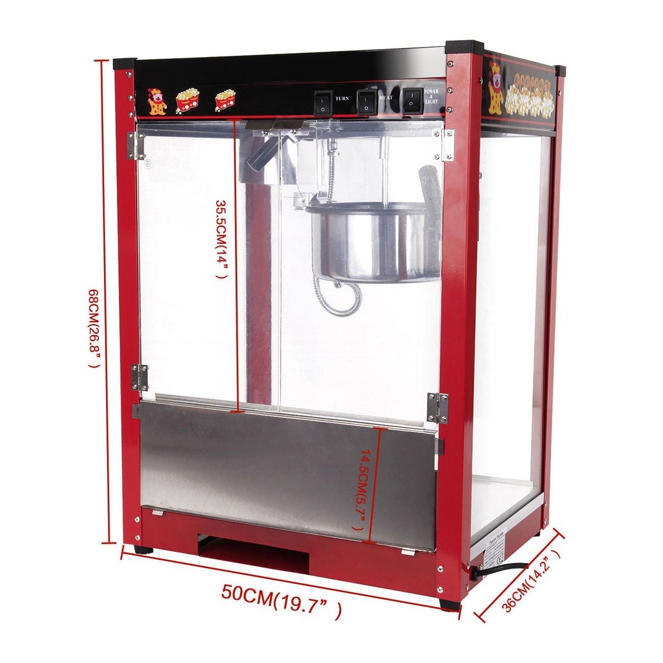 Iglobalbuy Máquina de palomitas de maíz 1370W capacidad 8oz ...