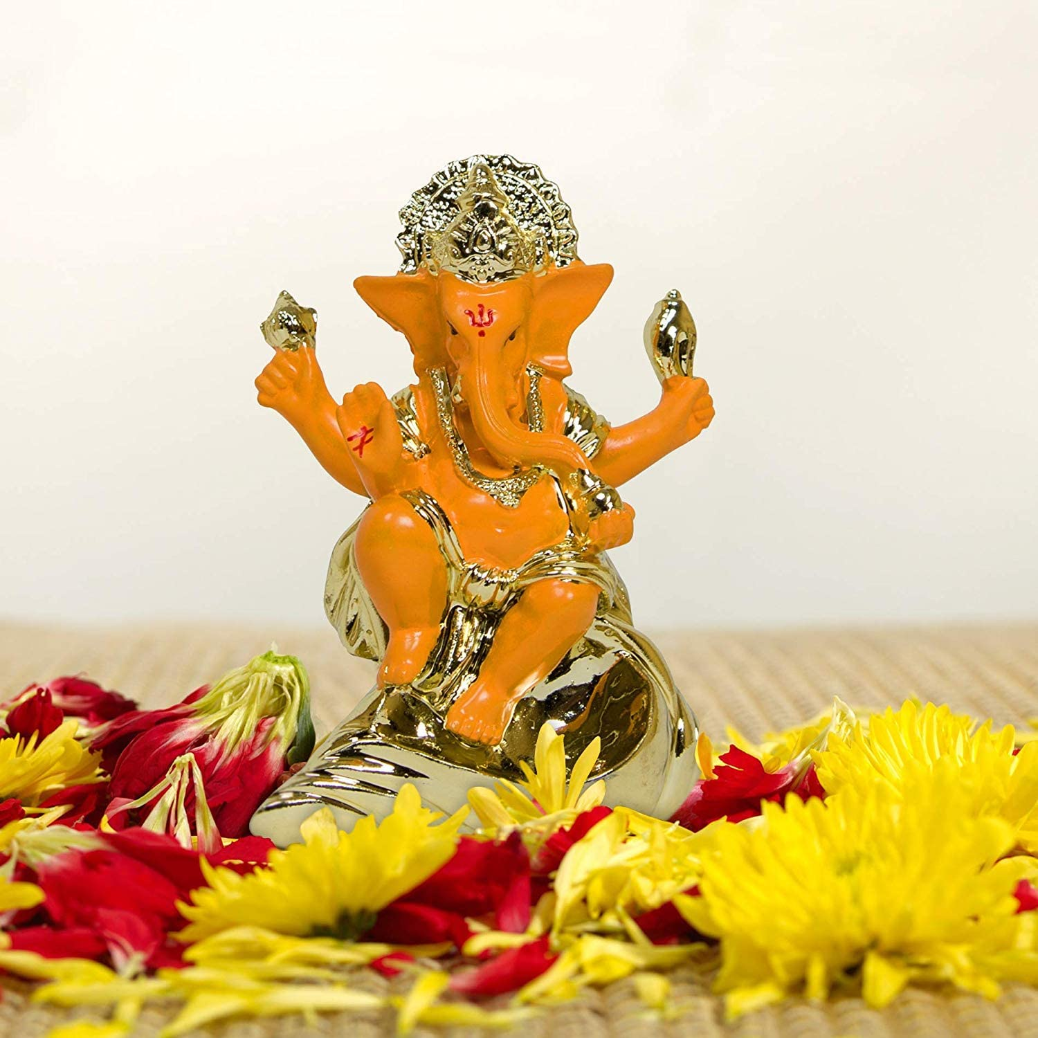 TIED RIBBONS Gold Plated Ganesh Statue (3 inch x 2.3 inch, Orange) - Ganesh Idol for Home Décor car Dashboard