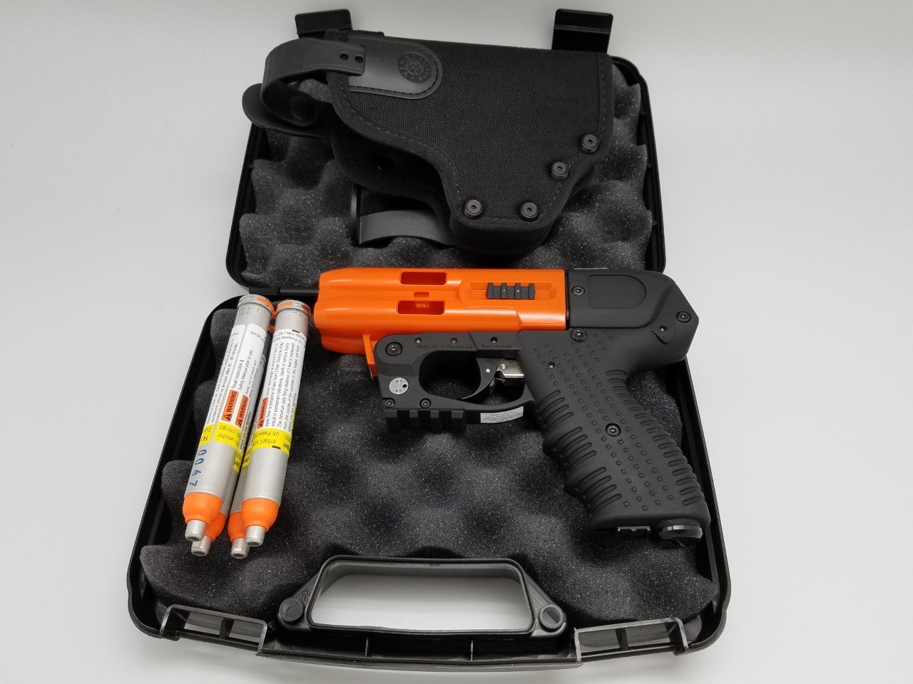 4 Shot LED Laser Pepper Spray Gun Orange Bundle with Cordura Paddle Holster by Piexon (Image #1)