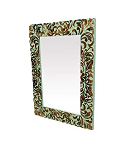 The Urban Store Homes Decorative Handcrafted Wooden Wall Mirror (White, 59 x 43 x 2.5 cm)