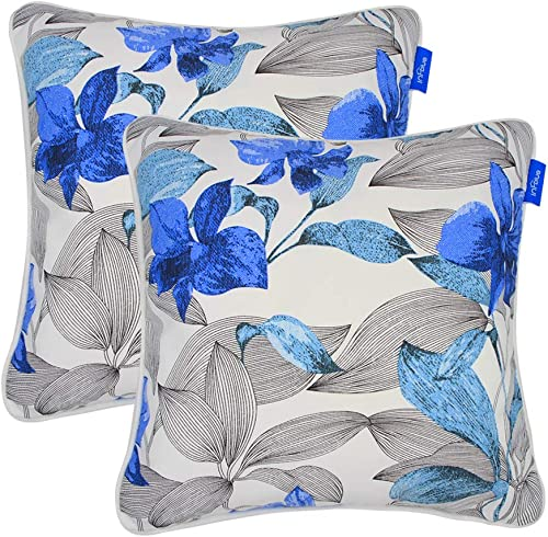 SleepMan Set of 2 Patio Outdoor Decorative Throw Pillow Square Cushion with Insert 18 x 18 Grey Leaves