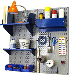 product image for Wall Control Pegboard Hobby Craft Pegboard Organizer Storage Kit with Gray Pegboard and Blue Accessories