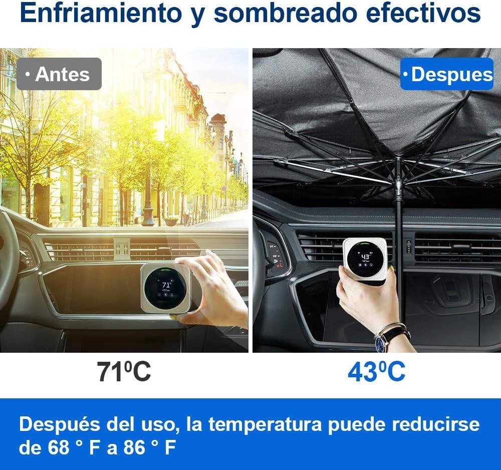 Martillo de Seguridad de Emergencia Sombrilla de Parabrisas del Coche Paraguas Plegable para Protecci/ón Solar del Parabrisas para el Autom/óvil UV ISSYZONE Parasol Coche Delantero 142 x 78cm