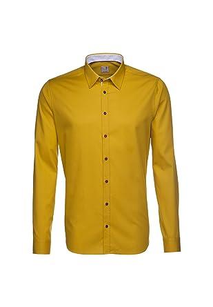 87feba64bda Seidensticker chemise pour homme coupe slim-couleur   rose jaune moutarde  avec patch 38