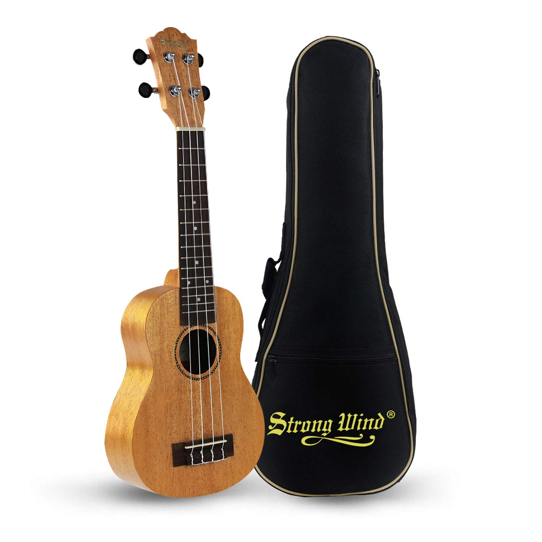Wooden Kids Toy Soprano Ukulele Mahogany 21'' Kids Ukulele Guitar With Gig Bag for Toddler Kids Boys Girls Beginner Starter by Strong Wind