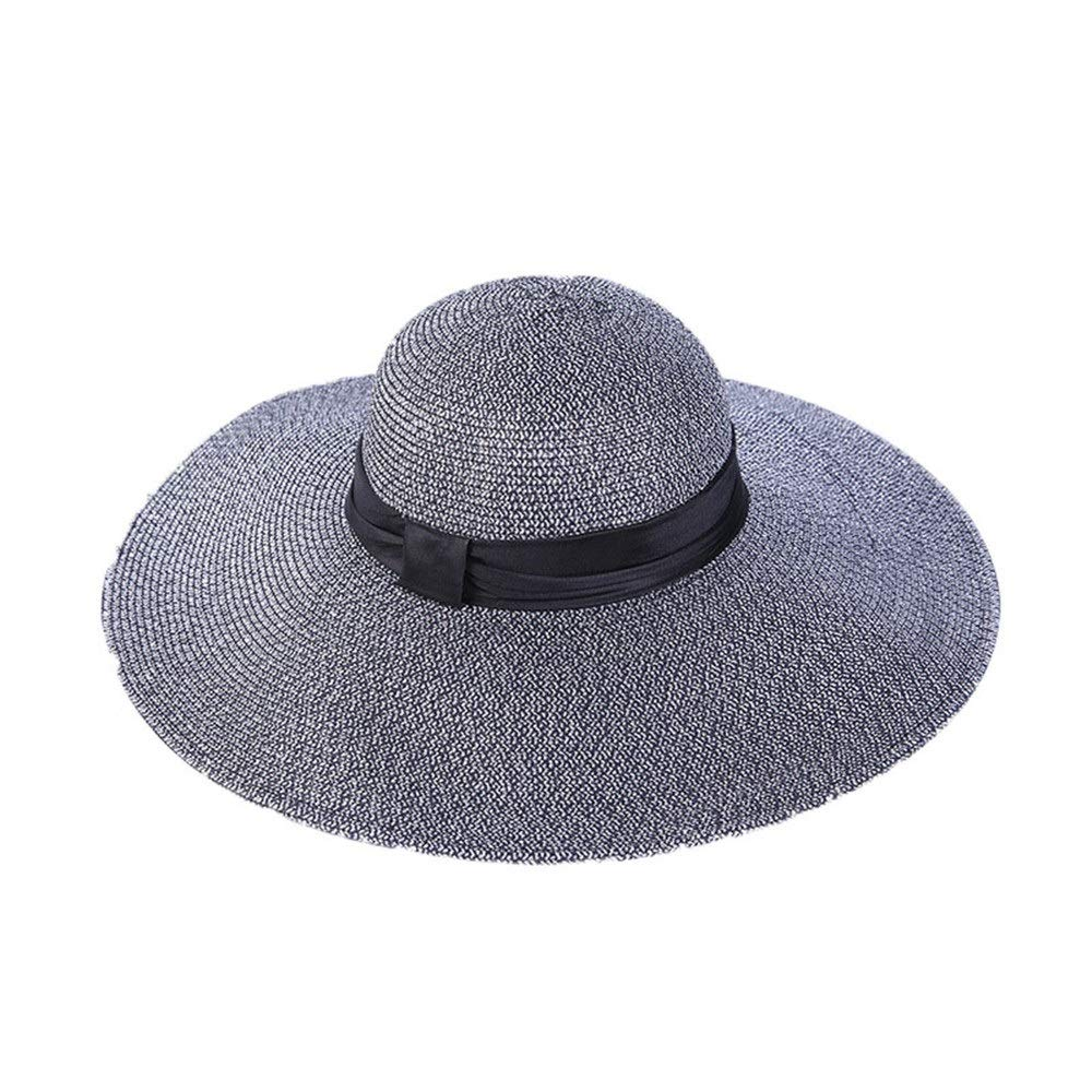 Black Women's Wide Brim Braided Sun Hat Women Straw Hat Folding Picnics Folding Picnics Hat Summer Vacation 50+ UPF Beach Party Pool Hat (color   White, Size   5658cm)
