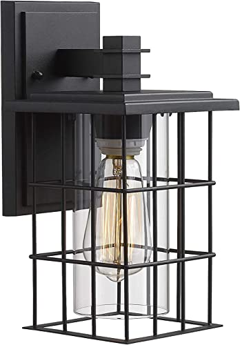 Zeyu Outdoor Wall Light, 1-Light Exterior Wall Sconce Lantern with Clear Glass Shade, Black Finish, 3067B BK
