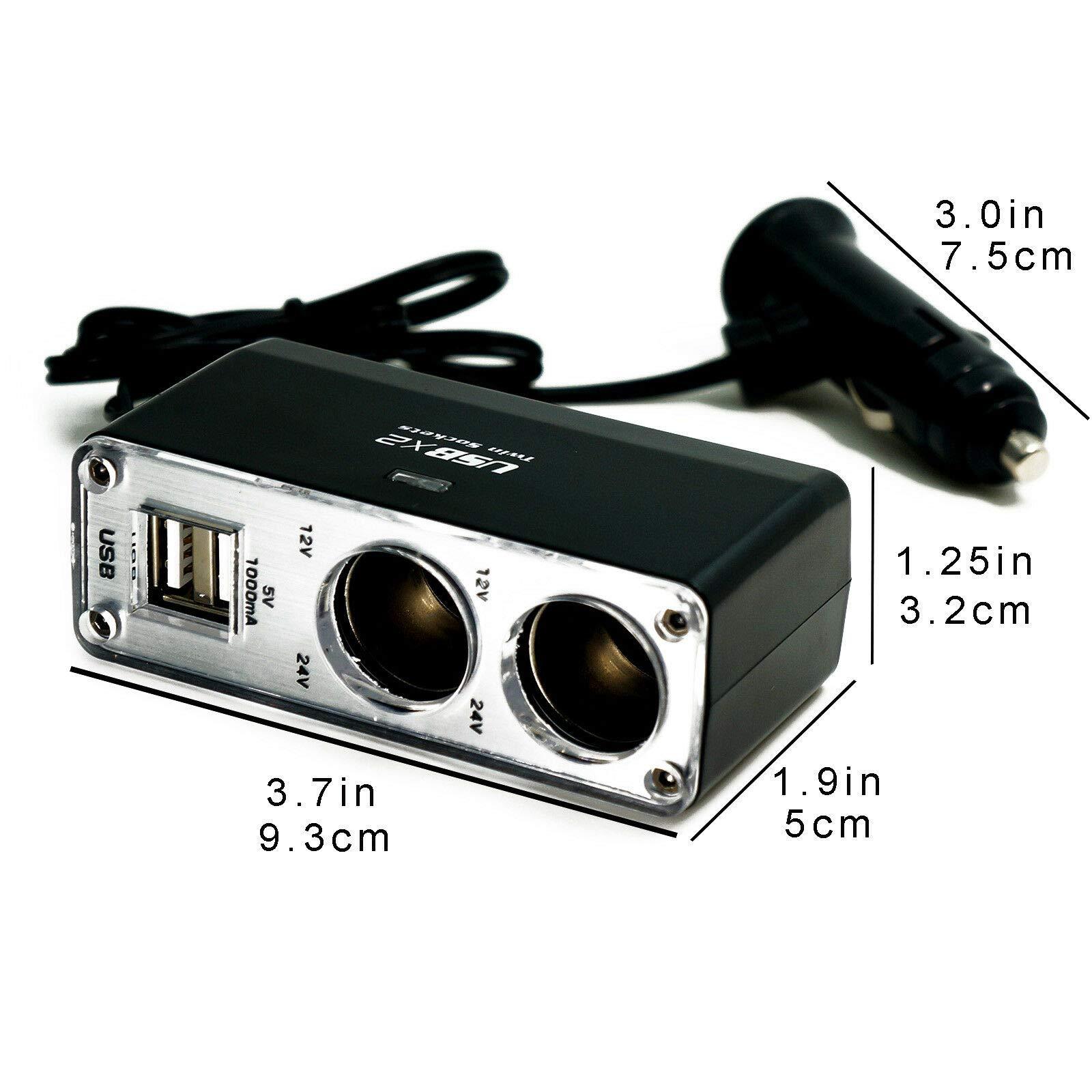 HERCHR Splitter, 12V Car Cigarette Lighter Charger Adapter Socket Dual USB Port 2 Way US, Black