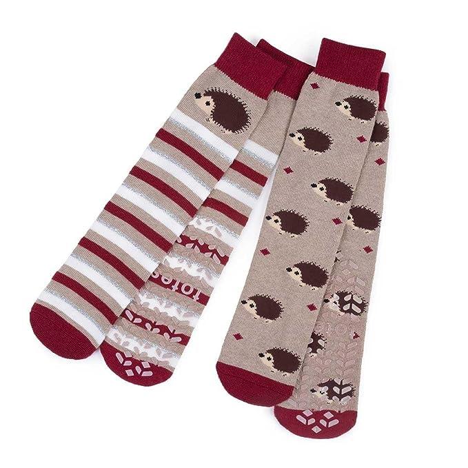 Totes - Calcetines de andar por casa para mujer, paquete de 2 Hedgehog Talla única