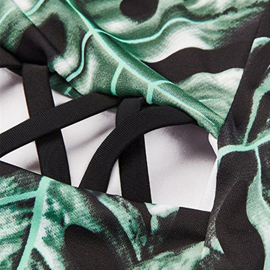 Xinan La mujer traje de ba/ño de una pieza monokini floral bikini L, Verde Ba/ñadores Deportivas Mujer