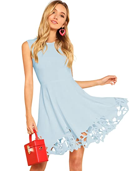 81a3746c56c656 Romwe Women s Elegant Sleeveless Round Neck Cut Out Summer A-Line Flared  Dress Blue M