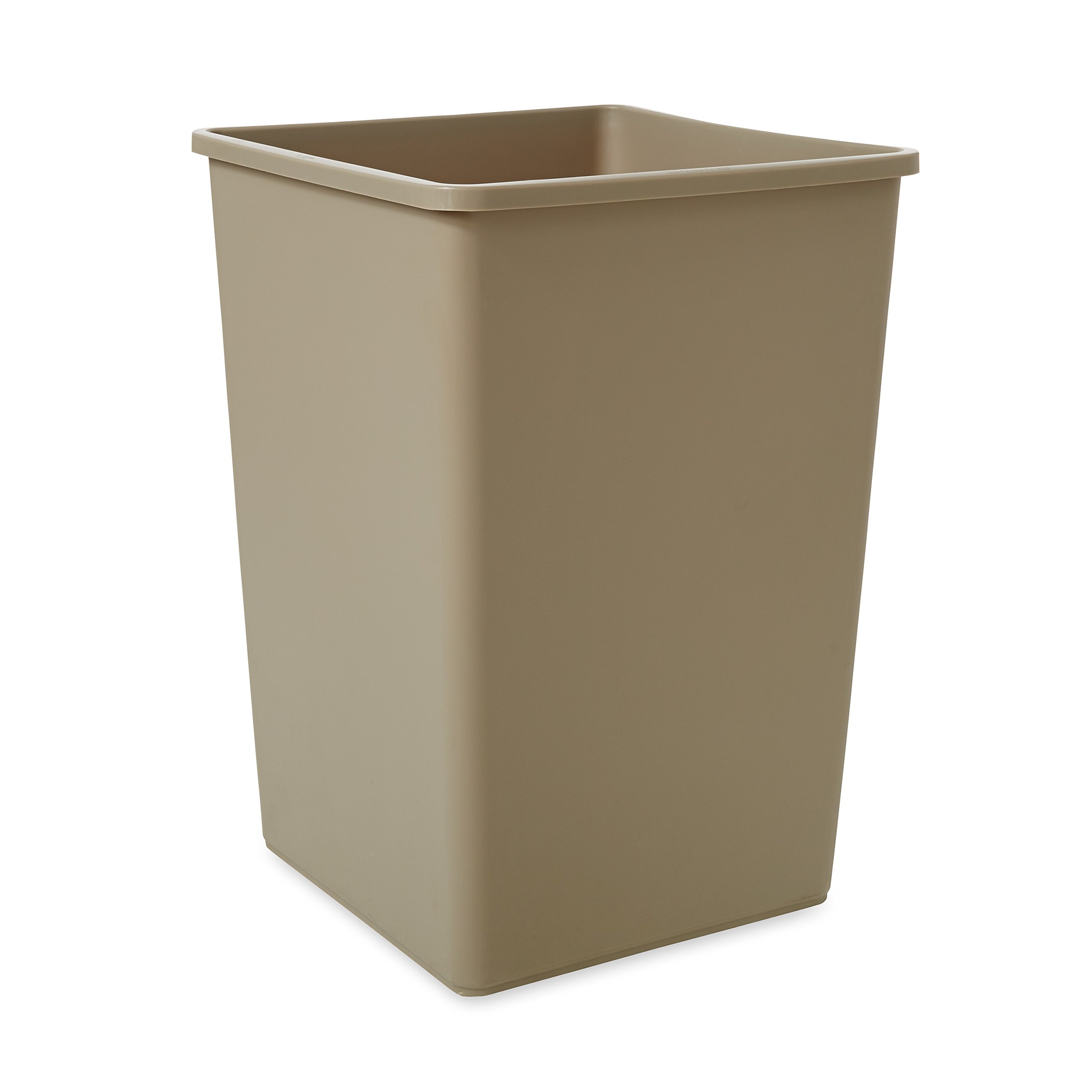 Rubbermaid Commercial Plaza Waste Container Rigid Liner, Square, Plastic, 35 Gallons, Beige (395800BG)
