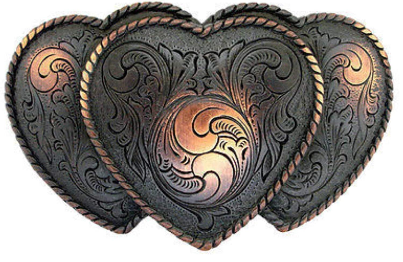 RODEO COWGIRL TRIPLE HEART WESTERN ANTIQUE COPPER FINISH TROPHY BELT BUCKLE NEW