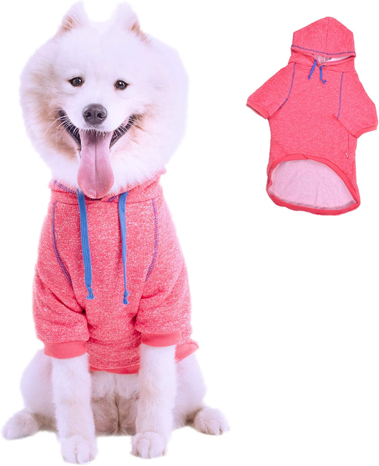 Leowow Dog Sports Clothes Dog Winter Coat Dog Hoodie Puppy Sweater Pet Hoodie for Medium or Large Size Pet-Grey-6XL