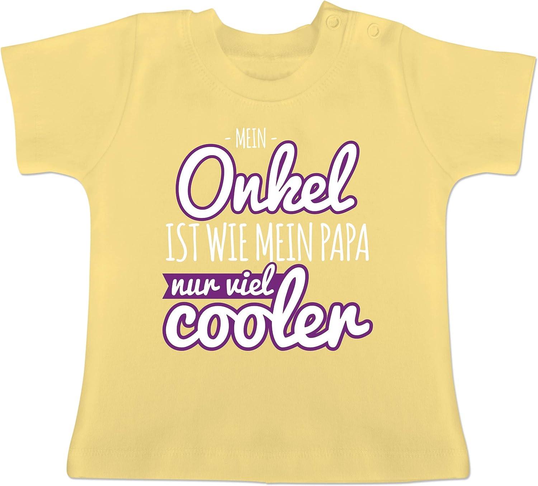 Spr/üche Baby Baby T-Shirt Kurzarm Mein Onkel ist wie Mein Papa nur viel Cooler lila