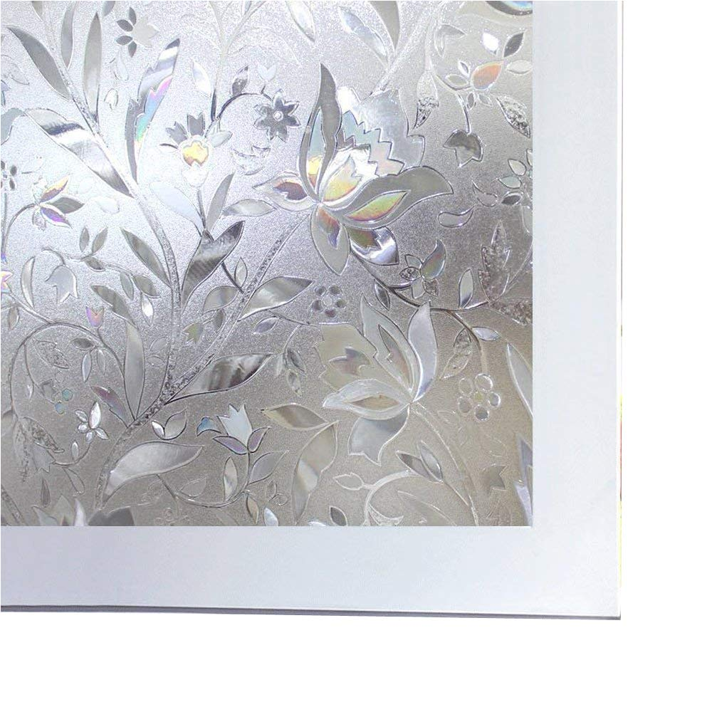 Bloss Static Cling Window Film Decorative Glass Sticker with Tulip Pattern Privacy Glass Film for Window DIY Home Decoration Window Paper