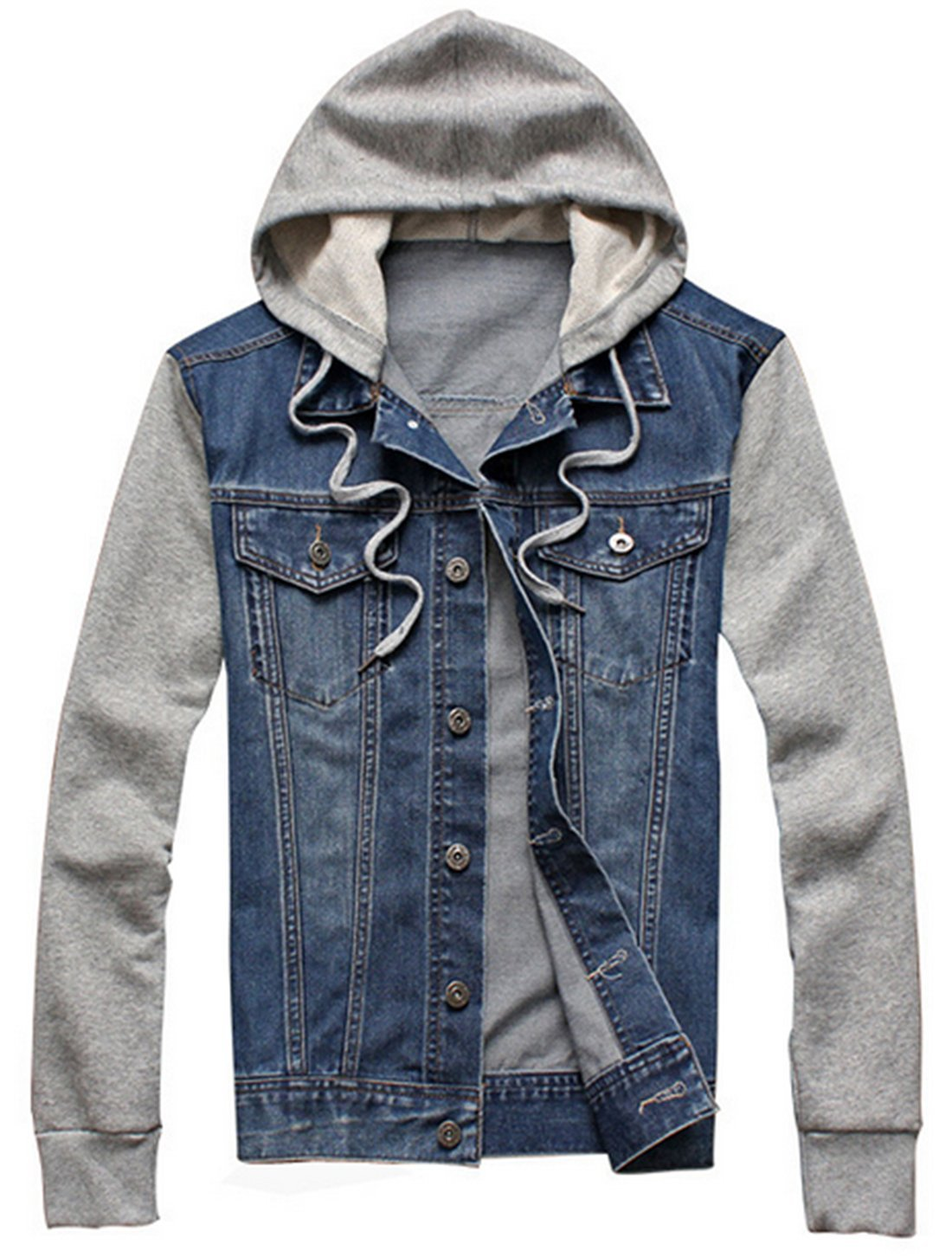 XueYin Men's Denim Hoodie Jacket with Hat Slim Fit Casual Wear(Blue,L Size) by XueYin