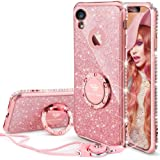 OCYCLONE iPhone XR Case for Girl Women, Cute Girly Glitter Bling Diamond Rhinestone Bumper with Ring Kickstand Sparkly Pink Protective Phone Case for iPhone XR [6.1 inch] 2018 - Rose Gold [Pink]