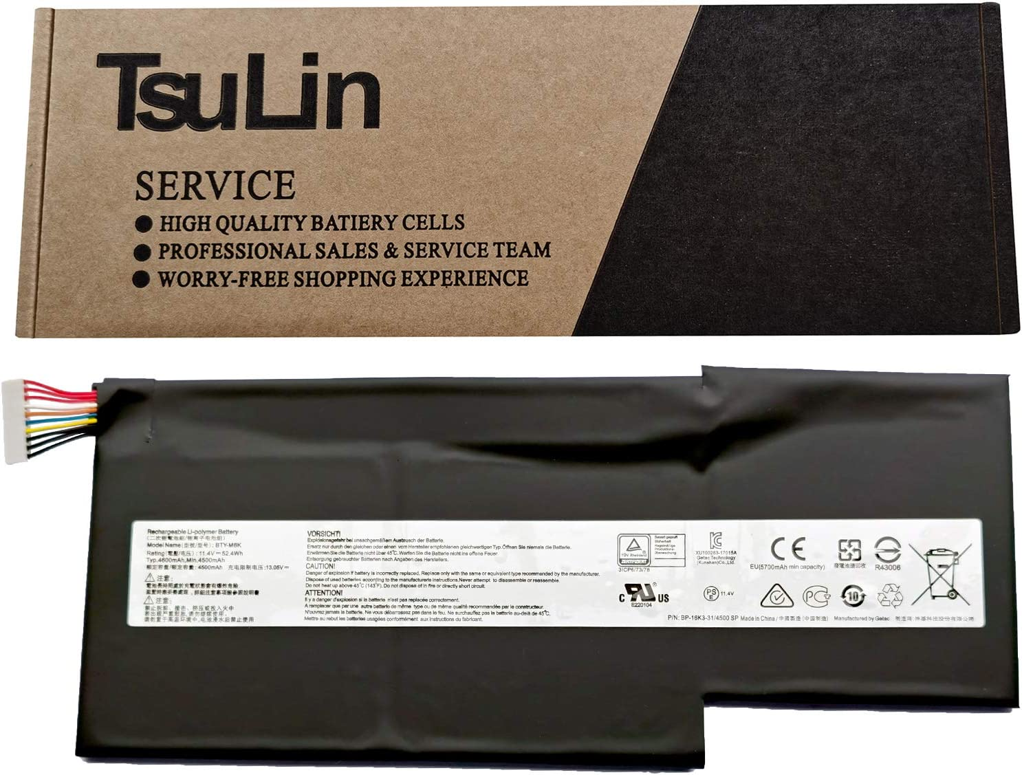 TsuLin BTY-M6K Laptop Battery Replacement for MSI Stealth Pro GS63VR 7RG 7RG-005 GF63 8RD 8RD-031TH 8RC 8RC-034CZ GF75 Thin 3RD 8RC 9SC 9SC-088CN Series MS-17B4 MS-16K3 11.4V 52.4Wh 4600mAh 3-Cell