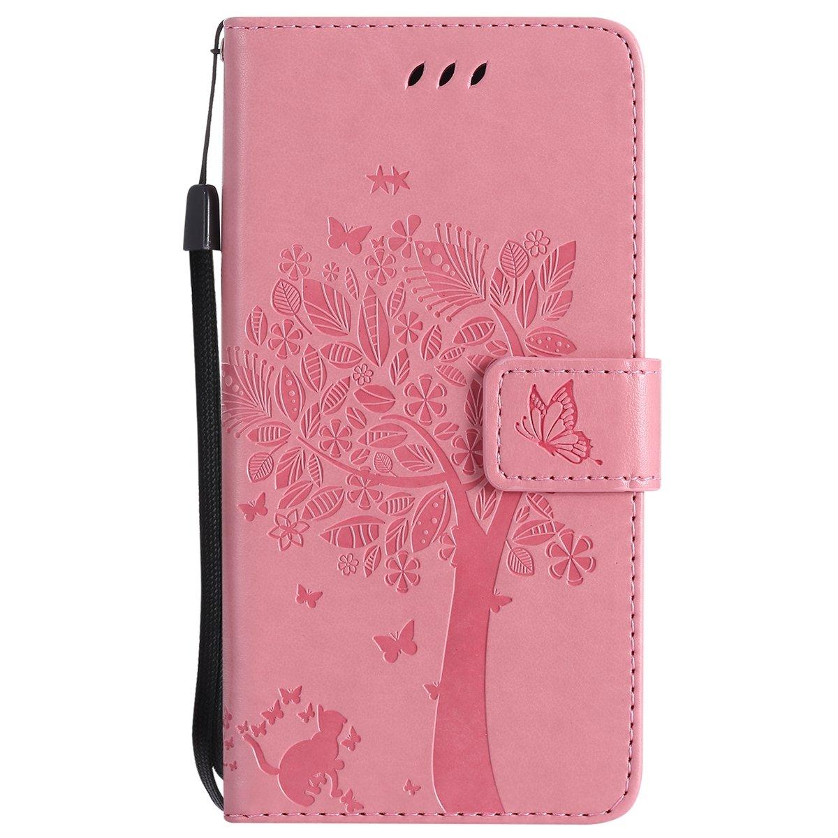 ISAKEN Custodia Cover per Huawei P10 Lite [PU Leather] Portafoglio Flip Copertura Rose Pattern Libro Wallet Cover con Supporto di Stand e Carte Caso, Rose: Rossa EUK-WPAR0012174