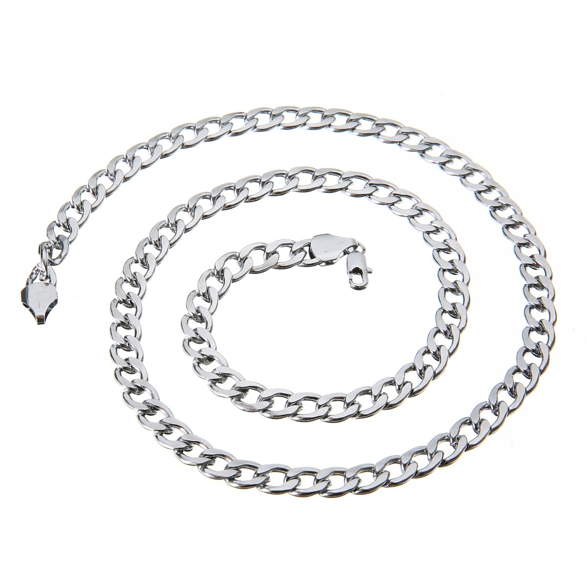 24 7mm Collier Chaîne Gourmette Maille Figaro Mayitr