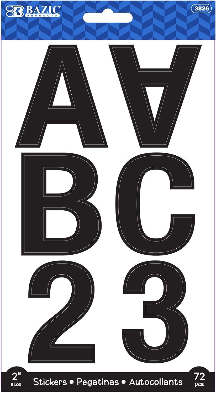 BAZIC Alphabet Numbers Stickers Black Colors, 2