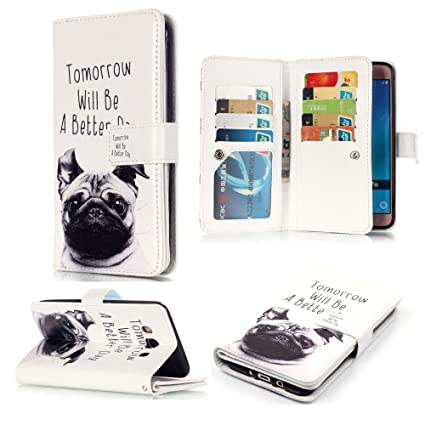 925b8a31218d XYX Galaxy J7 2016 Wallet Phone Case,[9 Card Slots][Cut Pug][Relief  Holster][Clear ID Window][Money Pocket] PU Leather Flip Cover for Samsung  Galaxy ...
