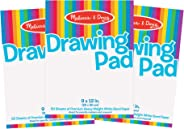 Melissa & Doug Drawing Paper Pad, 3-Pack of Large Drawing Pads, Pages Tear Cleanly, 50 Pages per Pack, Great Gift for Girls