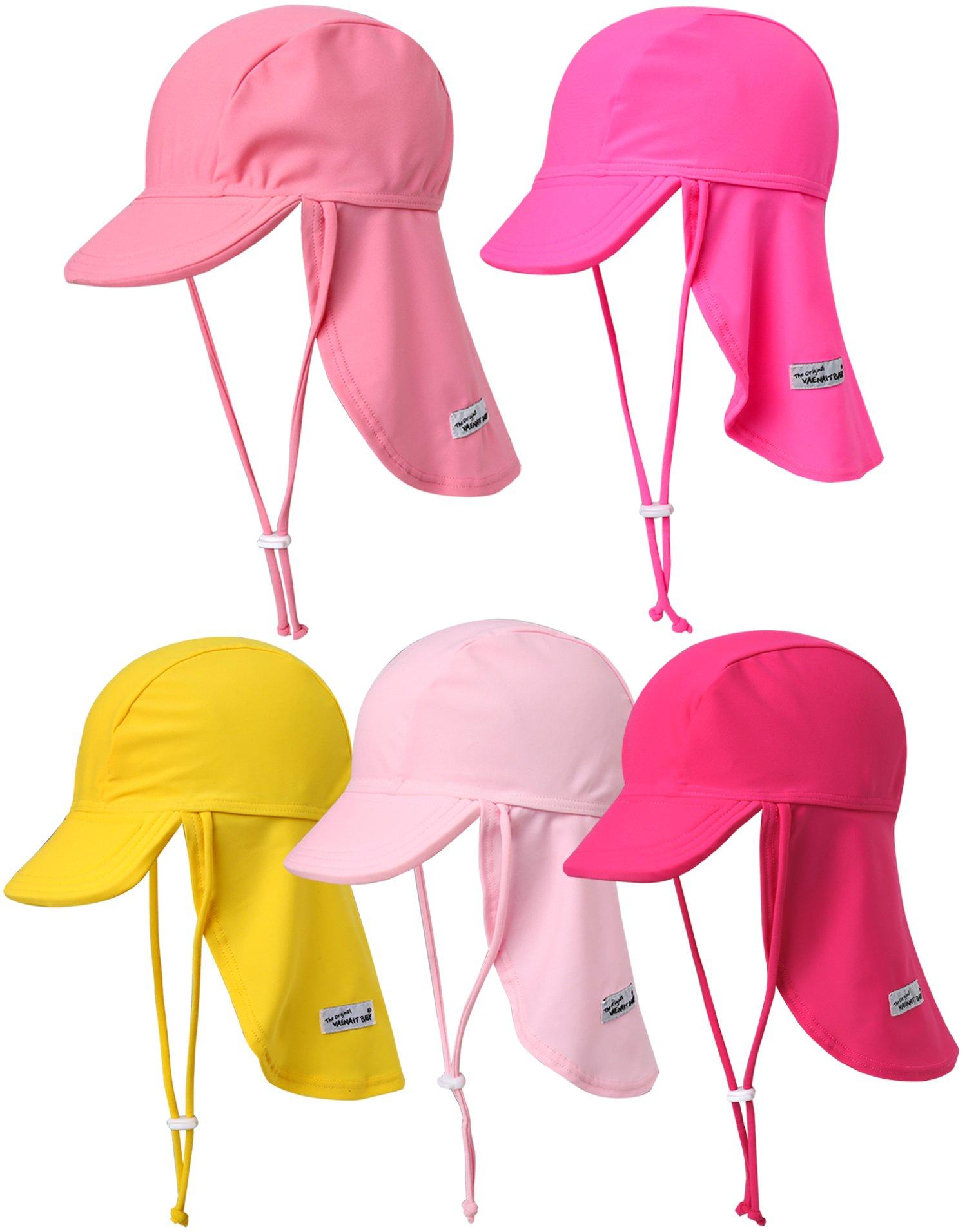 Vaenait Baby Infant & Kids Girls Sun protection Sporty Flap Swim hat UV Flap Cap Pink L