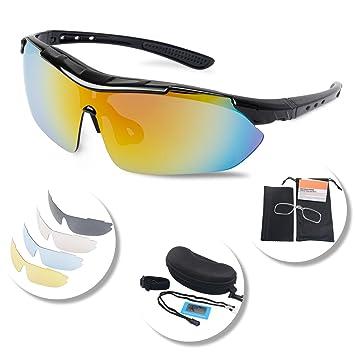Gafas Polarizadas Deporte Bici Anti UV400 Gafas Para Correr Running  Antivaho con 5 Lentes Intercambiables Adaptadas ed2626b3ad8f