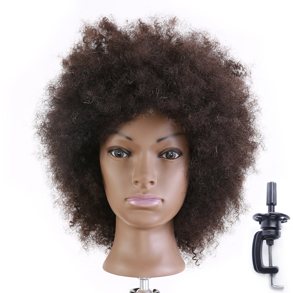 Afro Mannequin Head Hairdressing 100% Real Human Hair Styling Training Manikin Dolls Head (Table Clamp Holder Included) EHI0208D HAIREALM