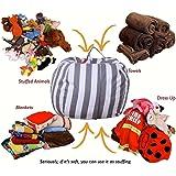 Wensltd Stuffed Animals Storage Bean Bag Cover - Kids Bedroom Organizer for Plush Cuddly Jumbo Animal Toys