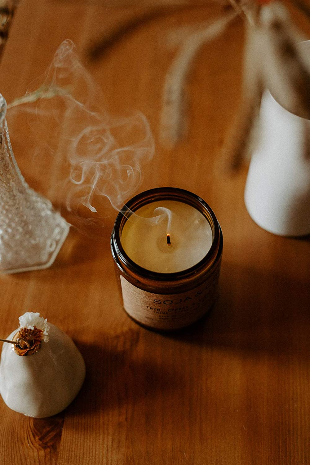 Bois de Santal /& Vanille//Lavender SOJA/&CO 8oz Lavande Scented Candles for Home Sandalwood /& Vanilla Aroma Aromatic Soy Wax Candle In Glass Jar Long Burning Glass Jar Soy Fragrance Candles Burns 50 Hours