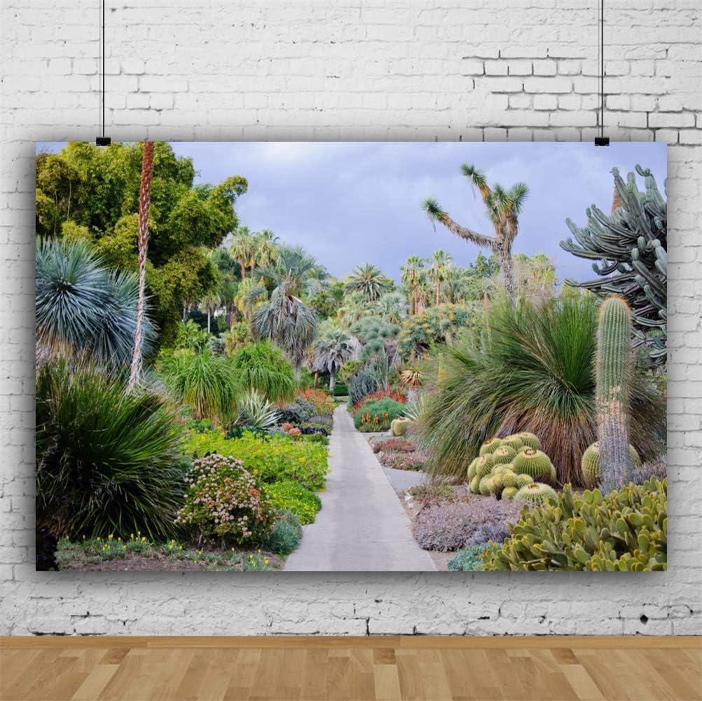 10x6.5ft Garden Passage Tropical Plants Cactus Trees Saguaros Polyester Photography Background Spring Scenic Backdrop Indoor Decors Landscape Wallpaper Personal Portrait Shoot Studio Props
