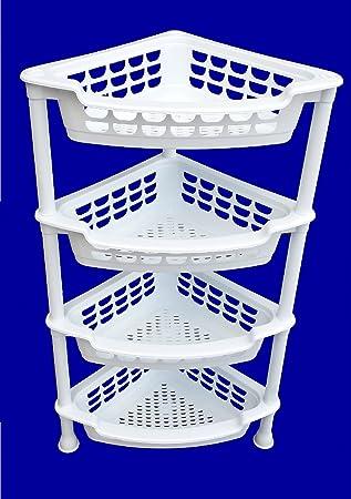 WHITE 4 TIER PLASTIC CORNER VEGETABLE RACK / STAND